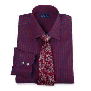 PAUL FREDRICK Navy+Red Striped Button-Down Shirt